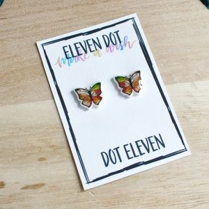 Watercolor Stained Glass Fall Butterfly Bug Studs